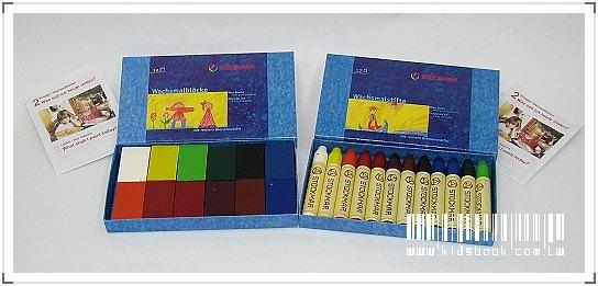 內頁放大:德國STOCKMAR:史都曼透明蜜蠟筆、磚 12色紙盒 2合1
