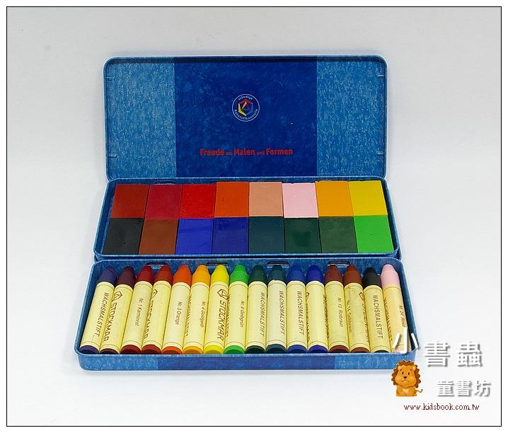 內頁放大:德國STOCKMAR:史都曼透明蜜蠟筆、磚 16色鐵盒 2合1