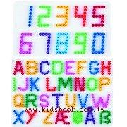 白色ABC+123數字模板:小拼豆模板