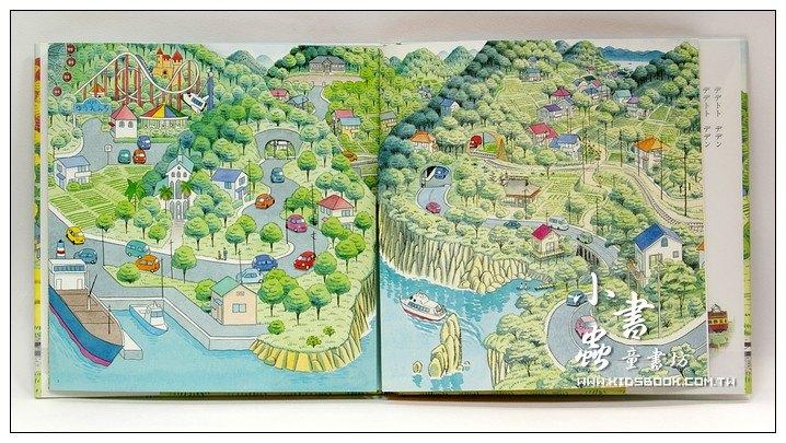 內頁放大:搭電車出去玩 從海邊到山上:間瀨直方交通工具繪本6(日文版,附中文翻譯)