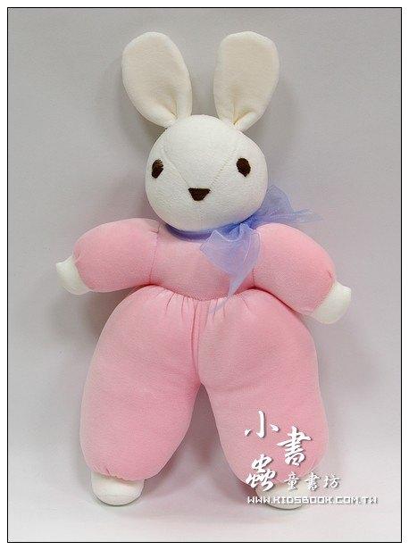 內頁放大:手工綿柔音樂布偶:兔子(白頭、粉紅身體)(台灣製造)
