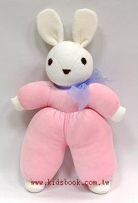 手工綿柔音樂布偶:兔子(白頭、粉紅身體)(台灣製造)