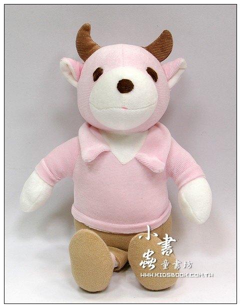 內頁放大:手工綿柔音樂布偶:小牛(粉紅、駝色)(台灣製造)