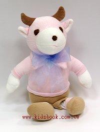 手工綿柔安撫布偶:寶貝牛(粉紅、駝色)(台灣製造)