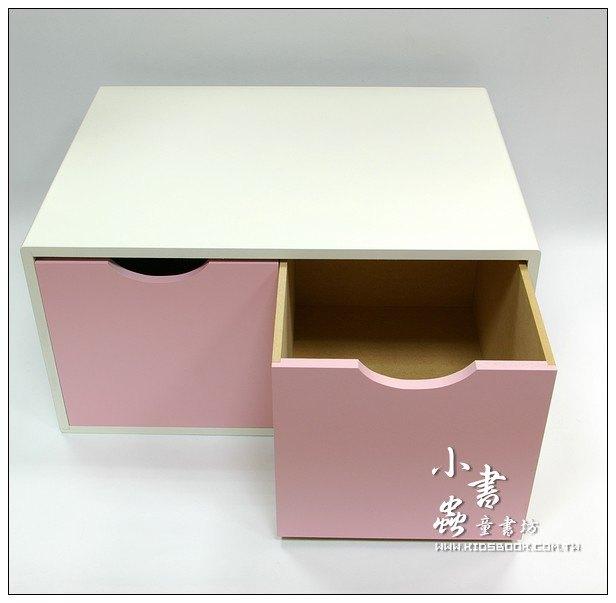內頁放大:抽屜收納櫃─粉紅(雙抽)(不適用貨到收款)