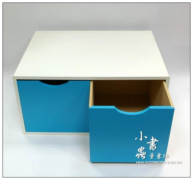 內頁放大:抽屜收納櫃─天藍(雙抽)(不適用貨到收款)