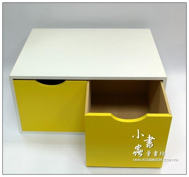 內頁放大:抽屜收納櫃─黃(雙抽)(不適用貨到收款)現貨數量:1