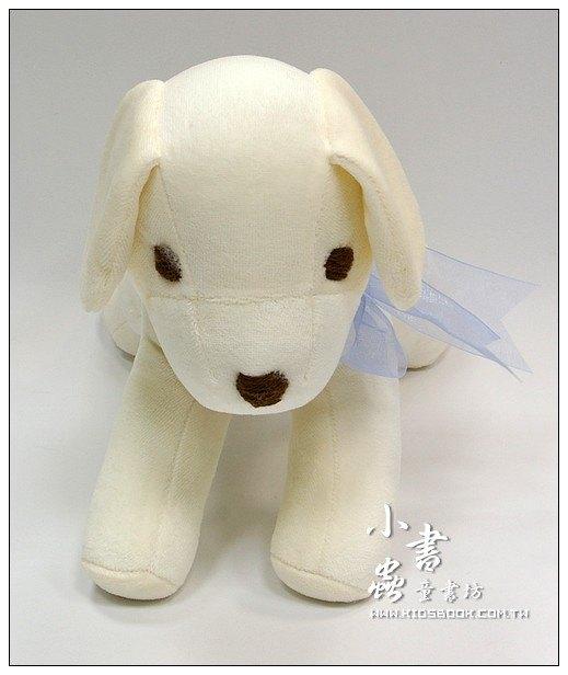 內頁放大:手工綿柔音樂布偶:小白狗 (台灣製造)