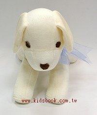 手工綿柔音樂布偶:小白狗 (台灣製造)