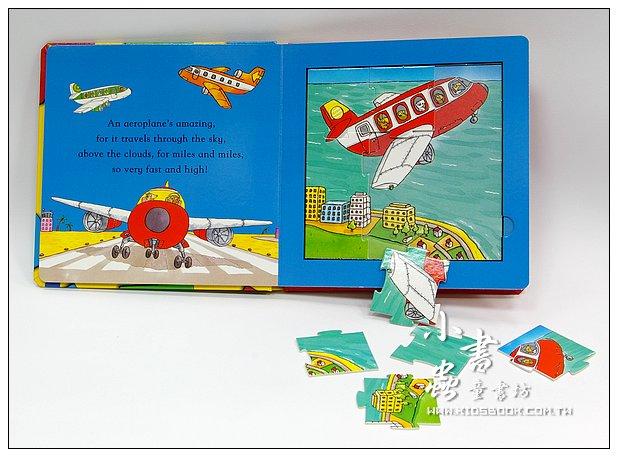 內頁放大:交通工具拼圖書:AMAZING MACHINES JIGSAW BOOK