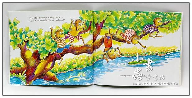 內頁放大:FIVE LITTLE MONKEYS SITTING IN A TREE(平裝書+歌唱、故事CD)