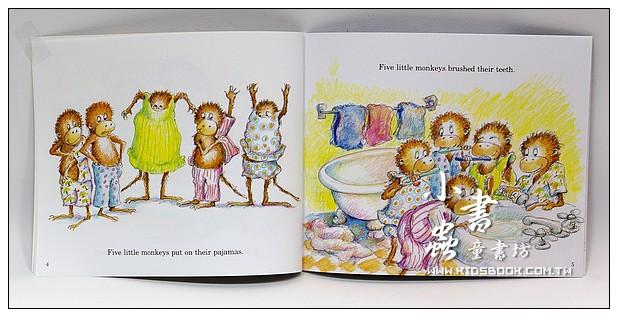 內頁放大:FIVE LITTLE MONKEYS JUMPING ON THE BED(平裝書+歌唱、故事CD)