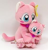 貓咪玩偶(母與子)粉紅貓