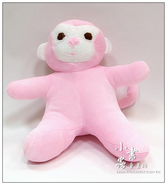 內頁放大:手工綿柔音樂布偶:小猴子(粉紅色)(台灣製造)