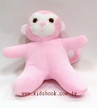 手工綿柔安撫布偶:小猴子(粉紅色)(台灣製造)