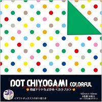 日本色紙:雙面花紙─繽紛彩色「中」點點(6色調36枚)
