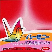 千羽鶴漸層紙-1(10色200枚)7.5cm