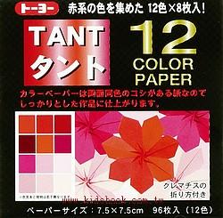 日本色紙:12色丹迪紙─紅色系(兩面同色)7.5cm