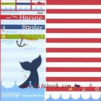 日本花紙(單面):鯨魚條紋(現貨數量:4)