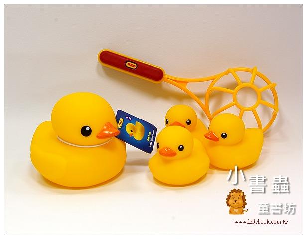 內頁放大:黃色小鴨 (洗澡組+單隻(大) 二合一) TOLO 正版授權生產(Rubber Duck)多加贈撈網一支