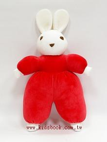 手工綿柔安撫布偶:聖誕紅小兔 (台灣製造)