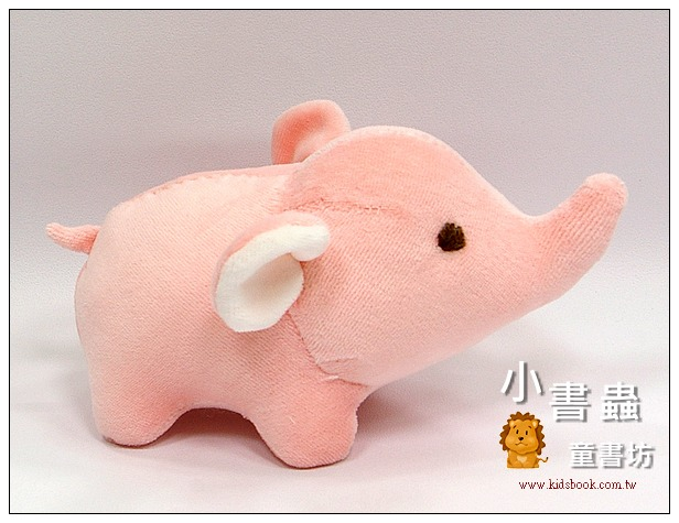 內頁放大:手工綿柔布偶:迷你小象(粉紅色)(台灣製造)