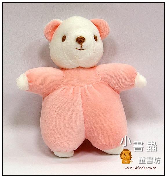 內頁放大:手工綿柔布偶:迷你小熊(粉紅色,有音樂) (台灣製造)現貨:1