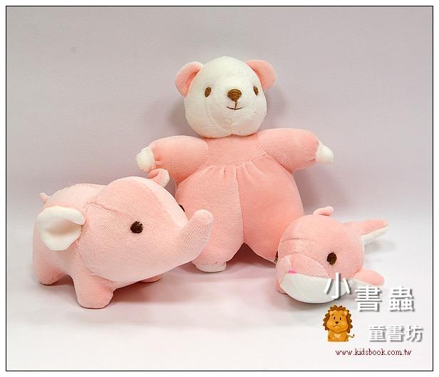 內頁放大:手工綿柔音樂布偶:迷你動物3合1(粉紅色) (台灣製造)