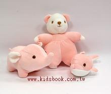 手工綿柔音樂布偶:迷你動物3合1(粉紅色) (台灣製造)
