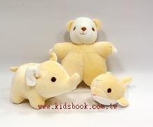 手工綿柔安撫布偶:迷你動物3合1(粉黃色) (台灣製造)