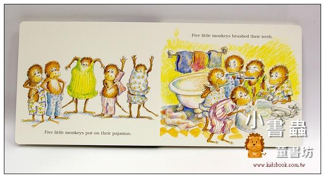 內頁放大:FIVE LITTLE MONKEYS JUMPING ON THE BED(大開本硬頁書)