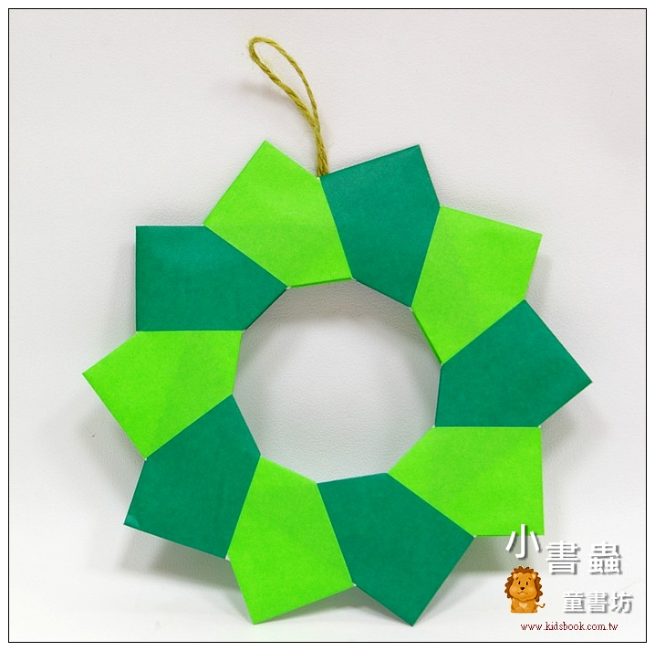 內頁放大:聖誕圓圈摺紙材料包(綠色款)(可做2大1小圈圈)