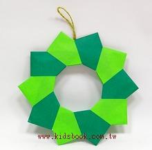 聖誕圓圈摺紙材料包(綠色款)(可做2大1小圈圈)