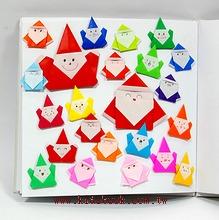 聖誕老公公(紅)+聖誕小精靈(彩色)─繽紛摺紙材料包(12大+40小)
