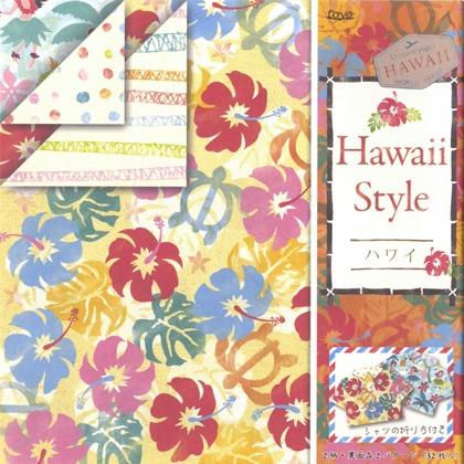 內頁放大:日本花紙(雙面):夏威夷風(4色調32枚)(現貨數量:4)