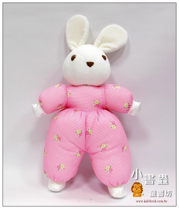 內頁放大:手工綿柔音樂布偶:格紋小兔─ 粉紅(台灣製造)