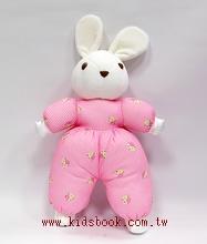 手工綿柔音樂布偶:格紋小兔─ 粉紅(台灣製造)