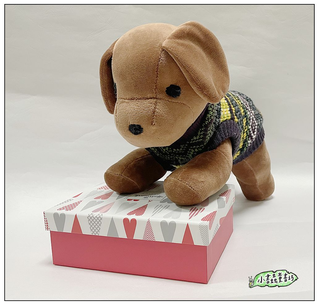 內頁放大:手工綿柔音樂布偶:小狗─ 咖啡色+衣服(台灣製造)