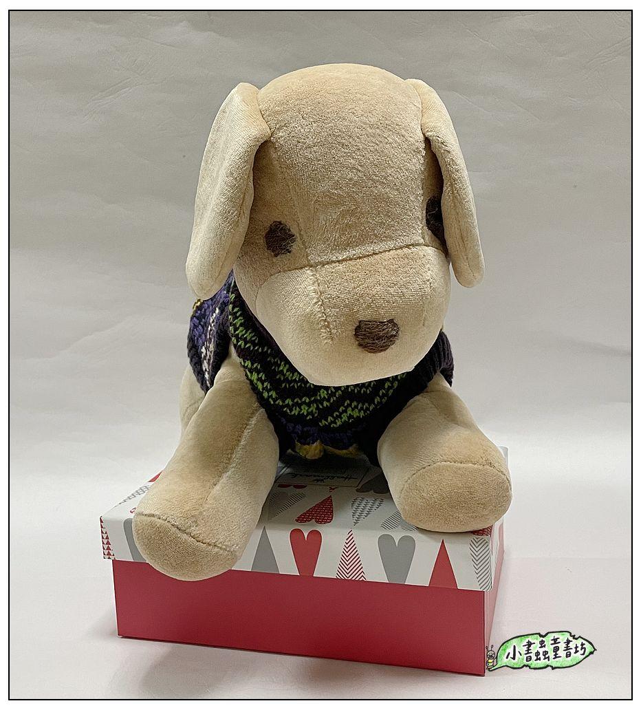 內頁放大:手工綿柔音樂布偶:小狗─ 灰色+衣服(台灣製造)