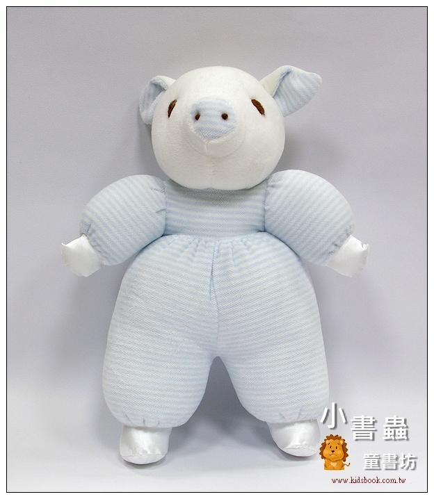 內頁放大:手工綿柔音樂布偶:小豬─ 淡藍條紋(台灣製造)