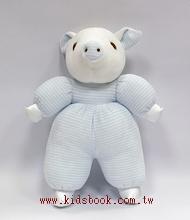手工綿柔音樂布偶:小豬─ 淡藍條紋(台灣製造)