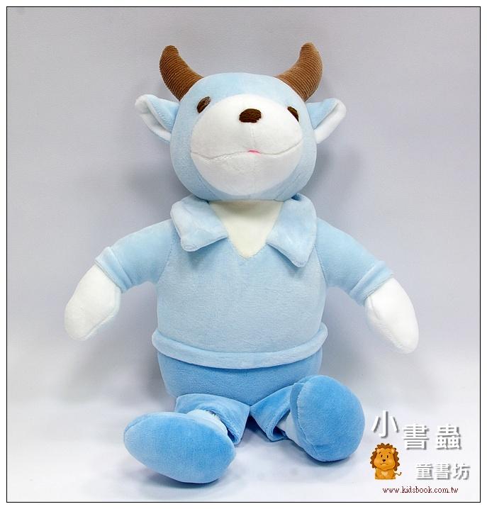 內頁放大:手工綿柔音樂布偶:小牛─ 天藍(台灣製造)