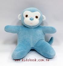 手工綿柔音樂布偶:小猴子─ 藍(台灣製造)