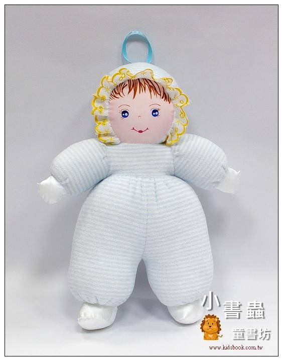 內頁放大:手工綿柔音樂布偶:貝比娃娃─淡藍條紋(台灣製造)