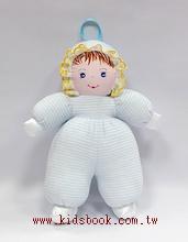手工綿柔音樂布偶:貝比娃娃─淡藍條紋(台灣製造)
