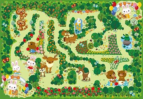 內頁放大:32pcs可愛的森林迷宮:日本幼兒紙板拼圖