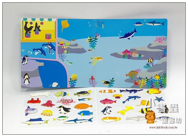 內頁放大:日本靜電貼紙遊戲:海洋世界(立體軟膠貼紙)