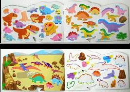 內頁放大:日本靜電貼紙遊戲本:恐龍軋型本(現貨數量:1)