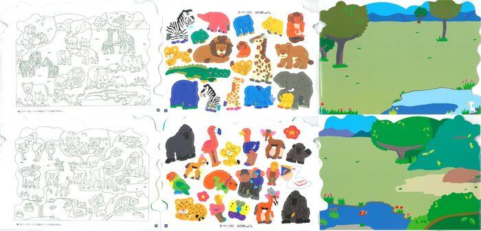 內頁放大:日本靜電貼紙遊戲本:野生動物軋型本(現貨數量:2)