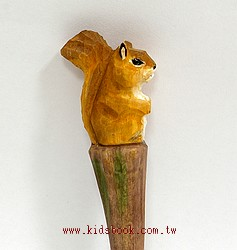 小松鼠:純手工木頭動物筆(原子筆)